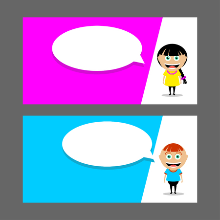 People, a girl and a boy. A man and a woman. Vector illustration. Speech balloon. Business card, flyer, invitation.