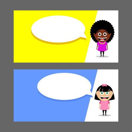 People, girls. Vector illustration. Speech balloon. Card, flyer.