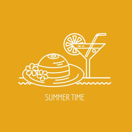 Summer vacation, summer. Vector logo, logo. A cocktail hat. Illustration