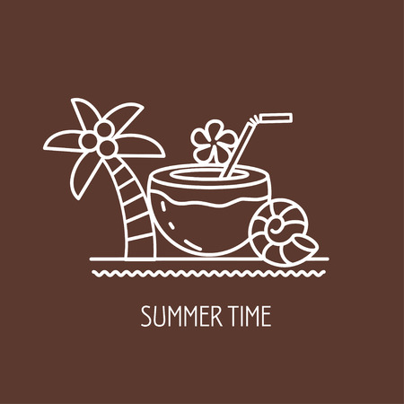 Summer, cocktail and palm tree, the emblem of summer vacation. Vector illustration. Illustration