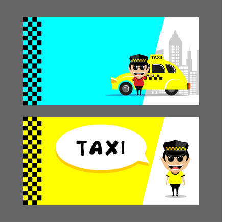 Taxi driver and taxi. Set of vector illustrations, business cards, flyers. Illustration