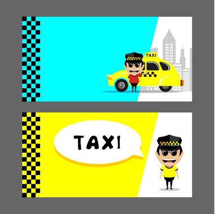 Taxichauffeur en taxi. Set van vector illustraties, visitekaartjes, flyers. Stock Illustratie