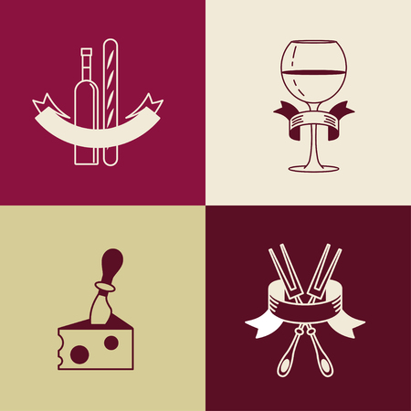 burgundy ribbon: Wine bottle, wineglass, French baguette, cheese, fork. Isolated on a white background. Set of vector icons. Illustration