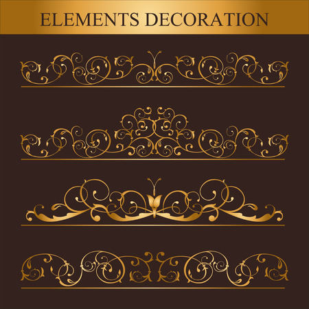 Vector set of Golden calligraphic design elements and page decoration. The Victorian style.