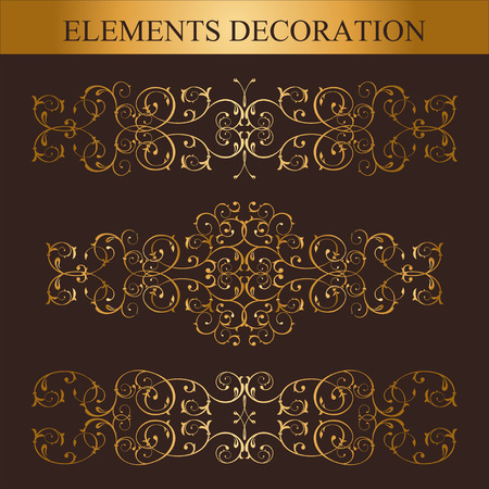Vector set of Golden calligraphic design elements and page decoration Illustration