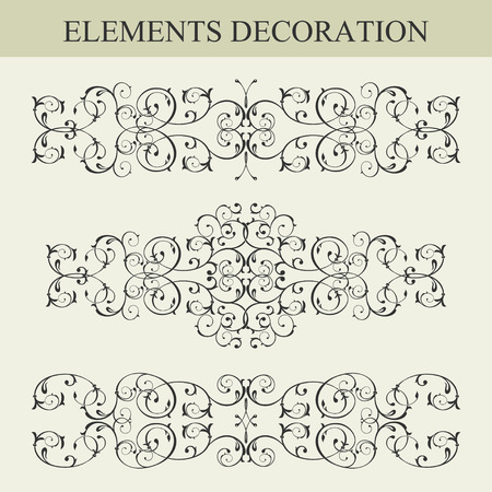 dashes: Vector set of patterns, borders and dividers decorative vignette elements set isolated on white for design
