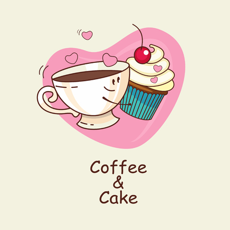 Coffee and cake on the background heart, love forever. Coffee and cake hug. Comic, cartoon. Vector illustration.