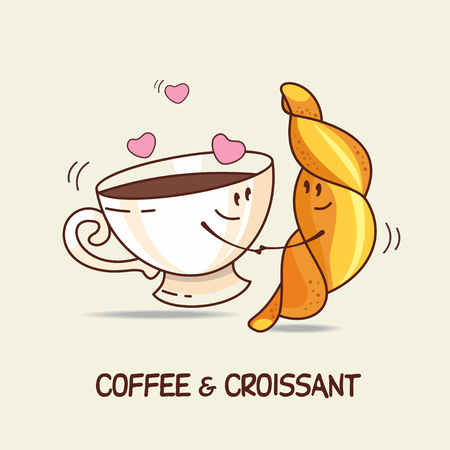 amigos abrazandose: Coffee and croissant, love forever. Comic, cartoon. Vector illustration.