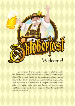 octoberfest: Oktoberfest Logotipo, cartel. Un traje nacional realmente alemán con una cerveza en medio del paisaje.