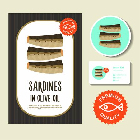 Una lata de sardinas. Enlatado en aceite de oliva. Pescado enlatado. Ilustración del vector, cartel publicitario. Foto de archivo - 69845058