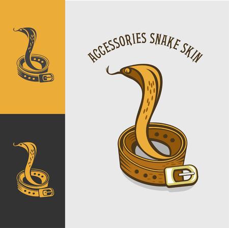 Collection of emblems snakeskin belt. Leather accessories. Snakeskin. Vector emblem shop leather accessories.