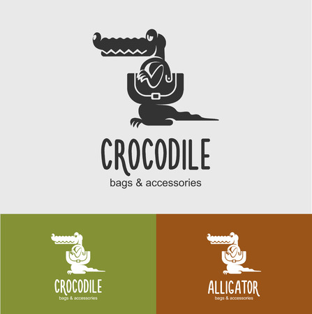 leather bag: The emblem shop leather accessories. Vector illustration of an alligator with a bag. Leather bags, accessories made of crocodile leather.