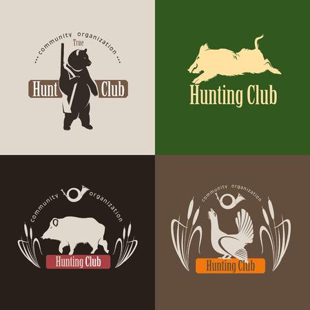 로고의 집합, 사냥 클럽 엠 블 럼. 멧돼지, 사냥 소총, 라우스와 곰 일러스트