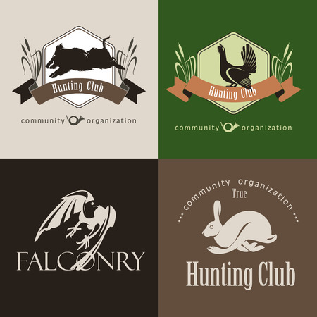 wild boar: A set of logos, emblems hunting club. Wild boar, hare, capercaillie, Falcon. Illustration