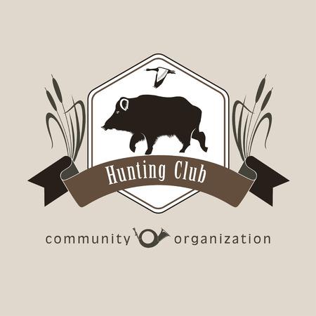 Boar. Vector logo  design. Wild hog emblem for a hunting club. 向量圖像