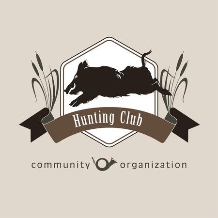 Hunting club. Wild boar.Symbol of the hunting club. The hunting club logo emblem.