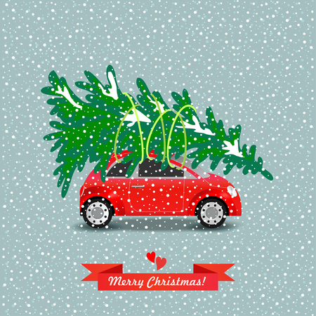 Red car carries the Christmas tree. Vector illustration.