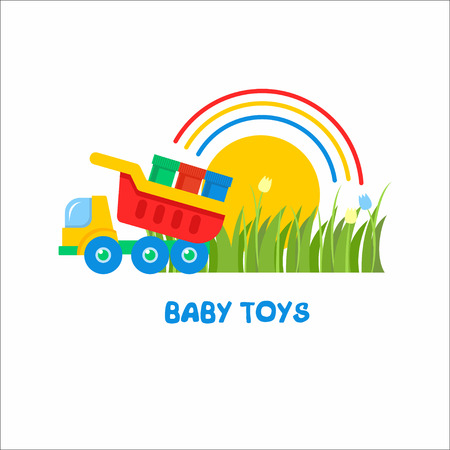Vector Sign The Logo For Toy Store Kids Dump Truck