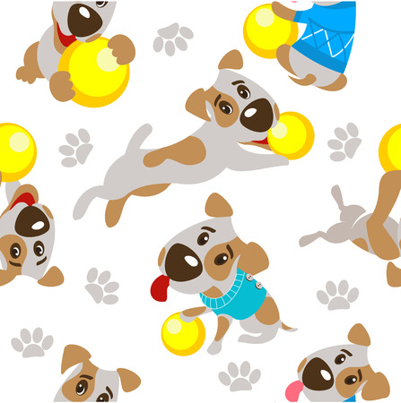 paw russell: Accessories for dogs. Seamless pattern. Funny dog Jack Russell Terrier.