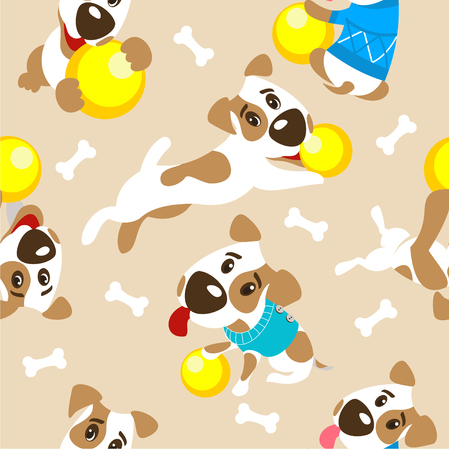 Seamless pattern. Accessories for dogs. Funny dog Jack Russell Terrier.