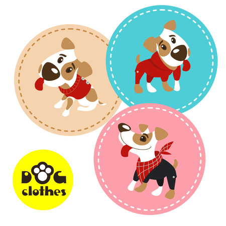 Set of three labels with funny dogs Jack Russell Terrier in clothes. Clothing for dogs. Vector illustration.