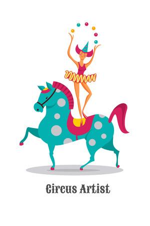 Circus artists. Girl juggler on horseback. Vector illustration. Isolated on a white background. Illustration