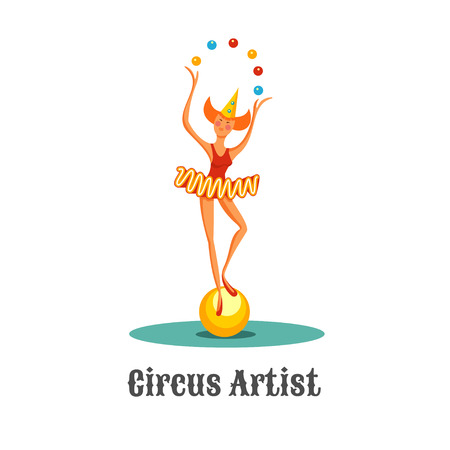 Girl juggler clown standing on a ball. Juggling balls. Vector illustration. Isolated on a white background. Illustration