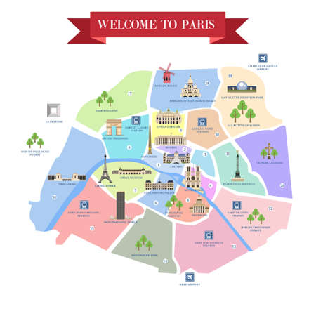 Detailed map of Paris. Famous landmarks, cathedrals, museums, palaces, parks, airports, railway stations.