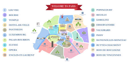 Detailed Map Of Paris Famous Landmarks Cathedrals Museums
