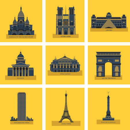Sights Of Paris. France. Famous palaces and monuments. Architecture. Vector icons. Illustration