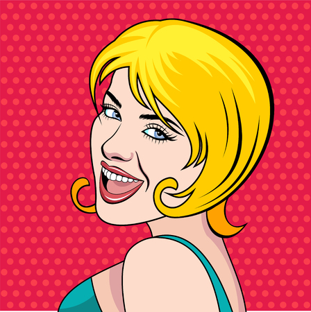 Comic pop art girl character. Vector illustration.