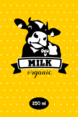 Cow. Milk and dairy products. Useful organic products. Vector emblem.