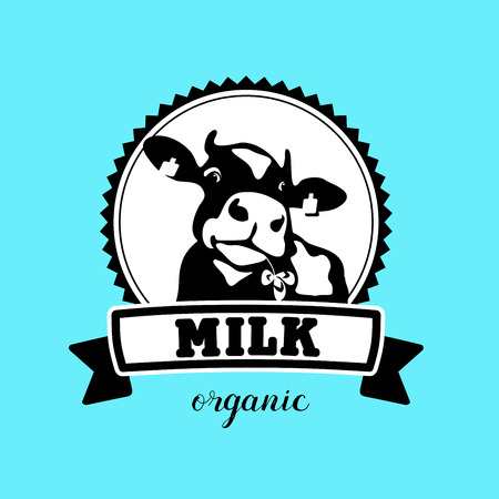 Vector emblem of the cow. Milk. Organic products.