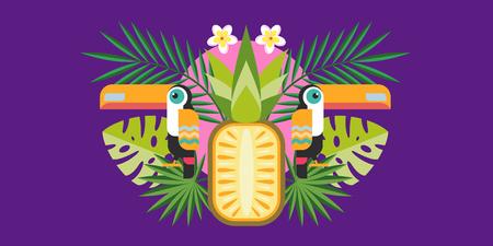 Tropical plants and birds Toucan. Symmetric vector illustration.