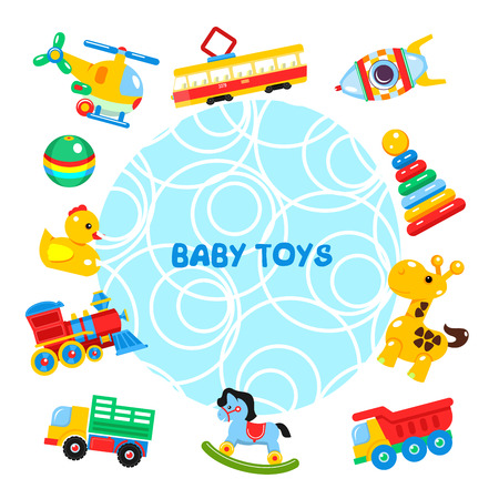 Vector illustration of toys arranged in a circle. Illustration