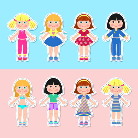 Girls paper doll with outfits to cut out with scissors.