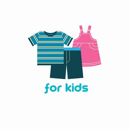 Childrens clothing. Vector illustration, emblem.