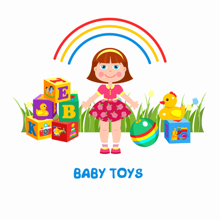 baby playing toy: Childrens toys. Vector illustration. Girl, ball, duck and cubes.