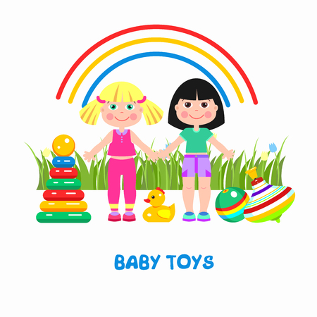baby playing toy: Childrens toys. Vector illustration. Girl, ball, duck, pyramid, cubes and peg-top. Illustration