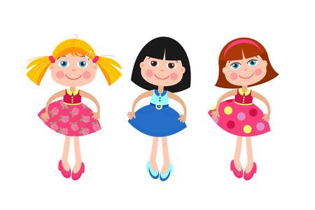 Meisjespoppen. Set van verschillende vector poppen. Geïsoleerd op een witte achtergrond. Vector Illustratie