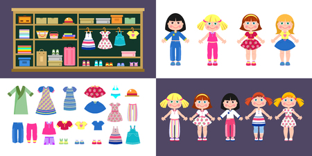 Set of paper girls dolls in different clothes. A set of clothes and shoes. Closet with clothes and accessories. Illustration