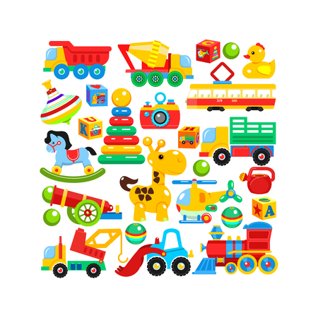 A set of children's toys arranged in the shape of a rectangle. Vector illustration. Illustration