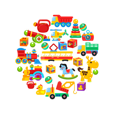 A set of children's toys, arranged in a circle. Vector illustration. Illustration