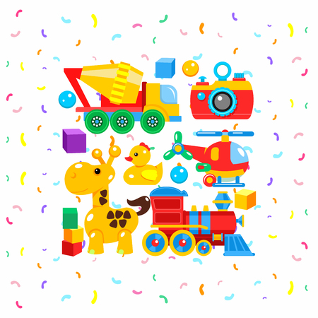 baby playing toy: A set of childrens toys, vector illustration. Including the camera, mixer, helicopter, giraffe, blocks, a duck, a locomotive.
