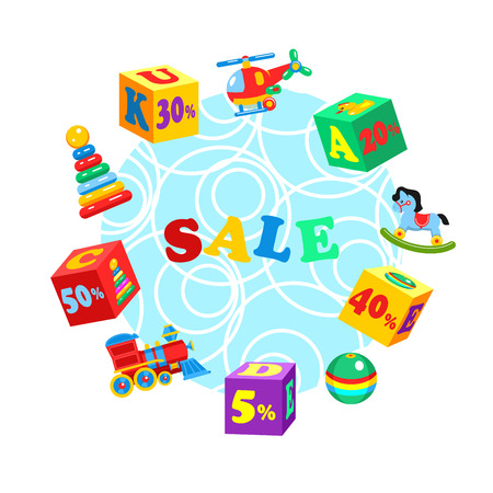 baby playing toy: A set of colored blocks and childrens toys. Sale. Vector illustration.