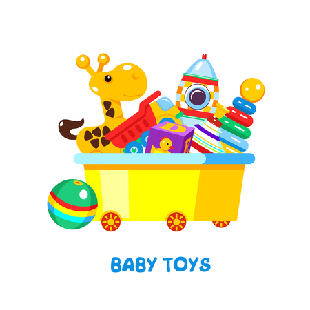 Childrens toys in a box. Vector illustration, isolated on white background. In box giraffe, pyramid, rocket, truck, dice, ball, top.