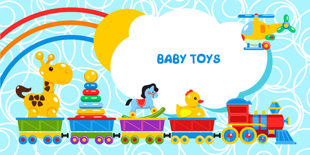 Fun train carries childrens toys. The cars go giraffe, pyramid, rocking horse, duck. The helicopter flies. The sun and the rainbow from behind the clouds .Vector illustration. Illustration