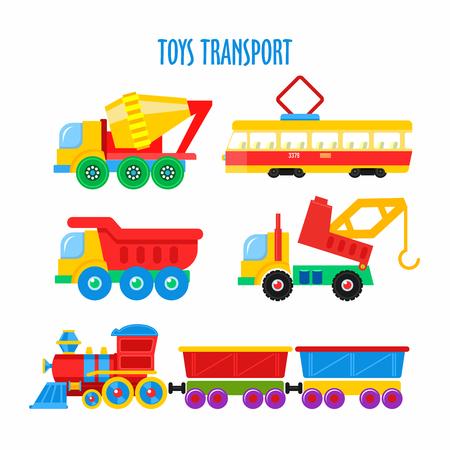 Satz Spielwaren der vektorkinder. Transport. Getrennt auf weißem Hintergrund. Inklusive Zug, Kipper, LKW, Straßenbahn, Mischer, Kran. Standard-Bild - 79170207