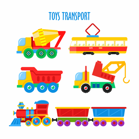 Set of vector childrens toys. Transport. Isolated on white background. Including the train, dump truck, truck, tram, mixer, crane.