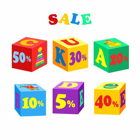 Set of vector elements, children's colored blocks. Sale. Vector illustration.
